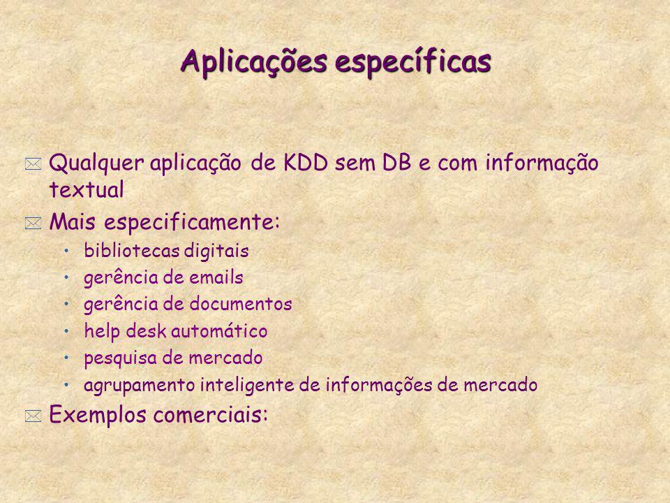 Aplicações específicas * Qualquer aplicação de KDD sem DB e com informação textual * Mais especificamente: bibliotecas digitais gerência de emails ger