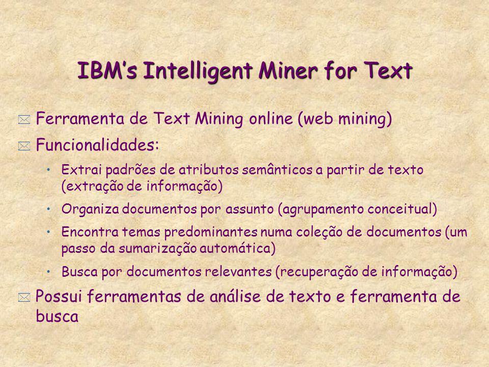 IBMs Intelligent Miner for Text * Ferramenta de Text Mining online (web mining) * Funcionalidades: Extrai padrões de atributos semânticos a partir de