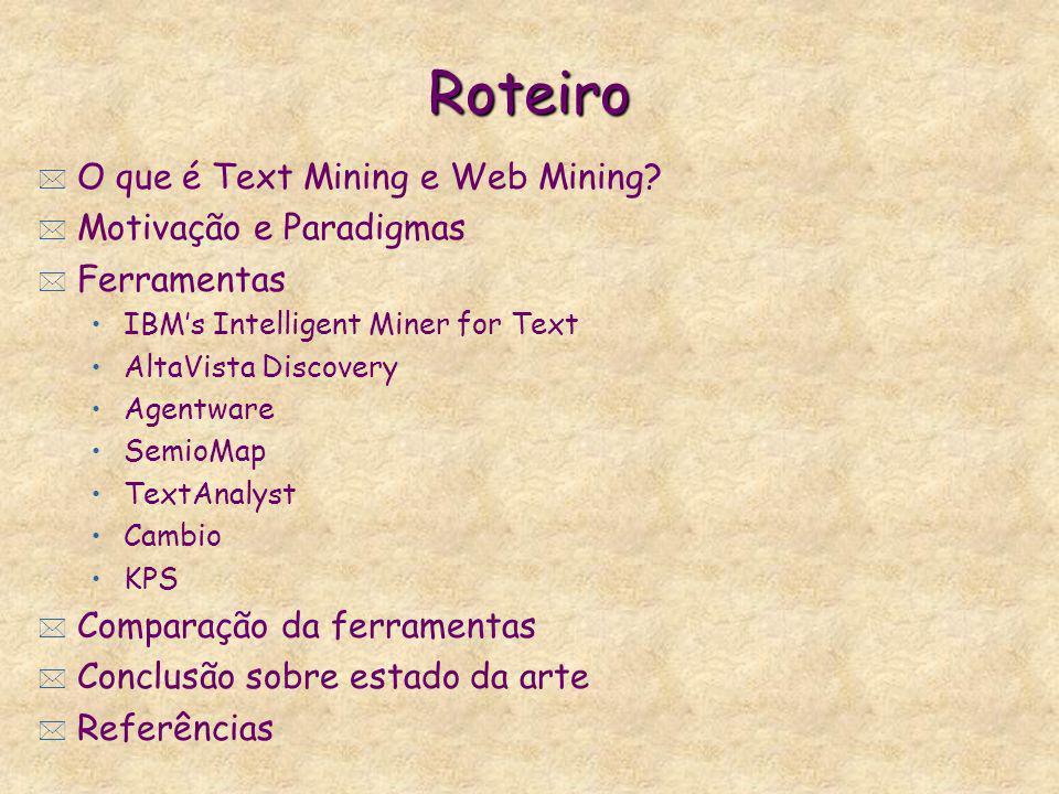 Roteiro * O que é Text Mining e Web Mining? * Motivação e Paradigmas * Ferramentas IBMs Intelligent Miner for Text AltaVista Discovery Agentware Semio