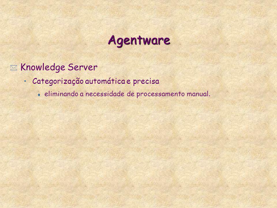 Agentware * Knowledge Server Categorização automática e precisa t eliminando a necessidade de processamento manual.