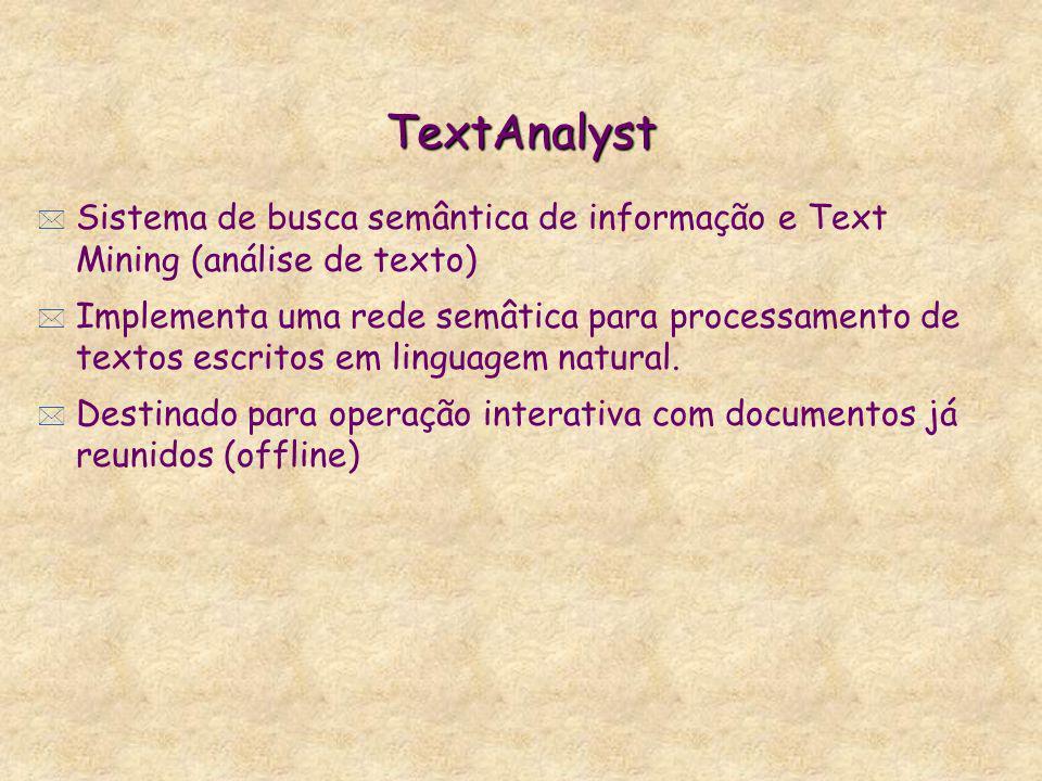 TextAnalyst * Sistema de busca semântica de informação e Text Mining (análise de texto) * Implementa uma rede semâtica para processamento de textos es
