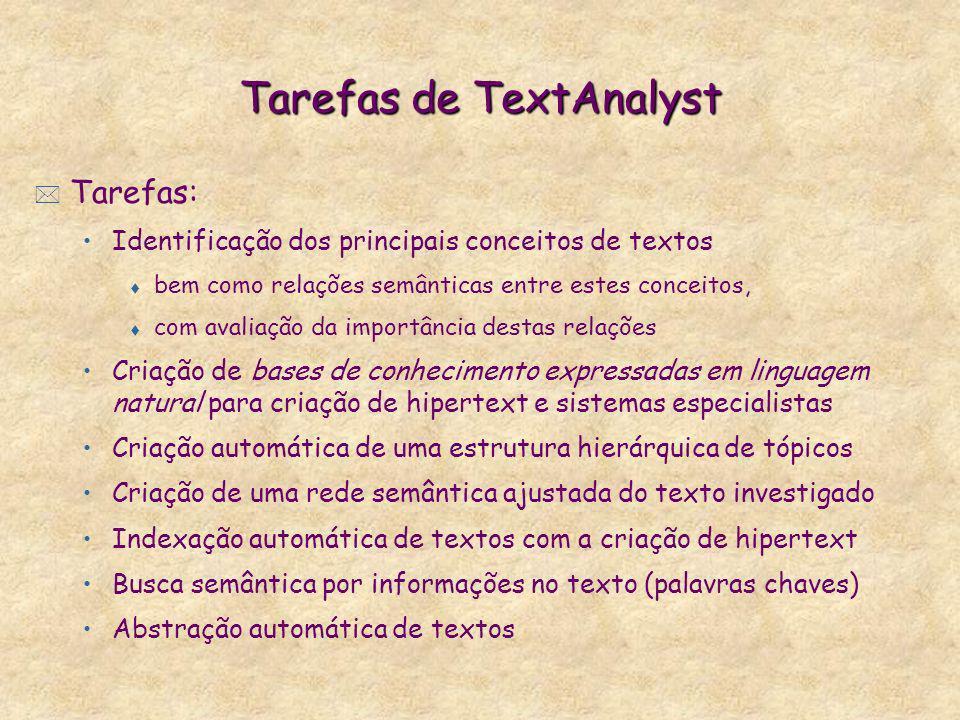 Tarefas de TextAnalyst * Tarefas: Identificação dos principais conceitos de textos t bem como relações semânticas entre estes conceitos, t com avaliaç