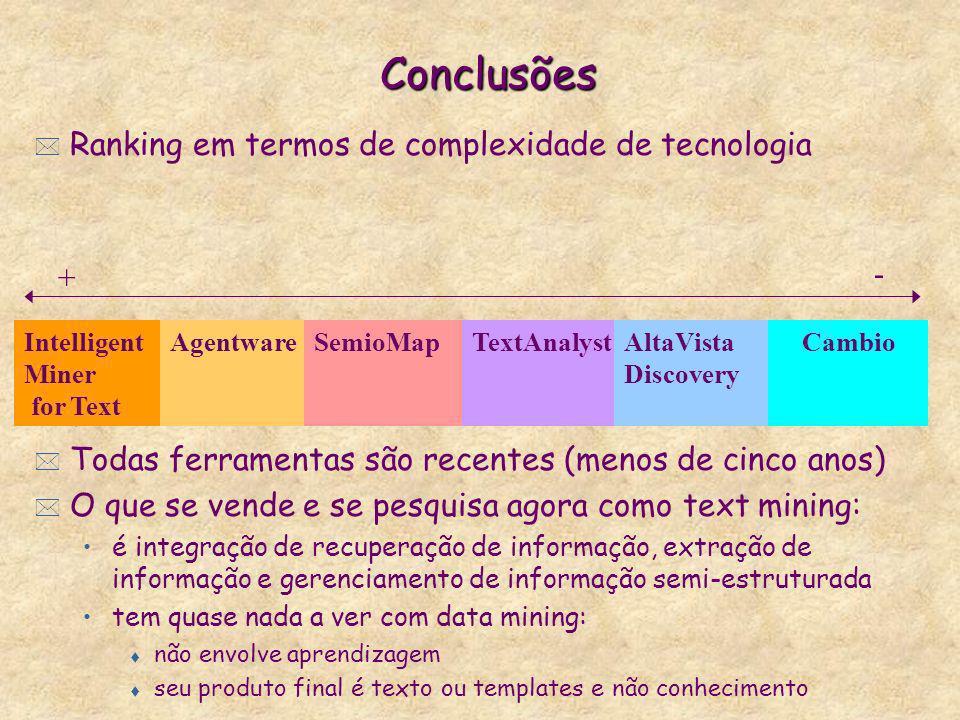 Conclusões * Ranking em termos de complexidade de tecnologia * Falta de maior clareza na explicação de como as ferramentas trabalham * Todas ferrament