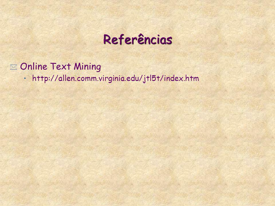 Referências * Online Text Mining http://allen.comm.virginia.edu/jtl5t/index.htm