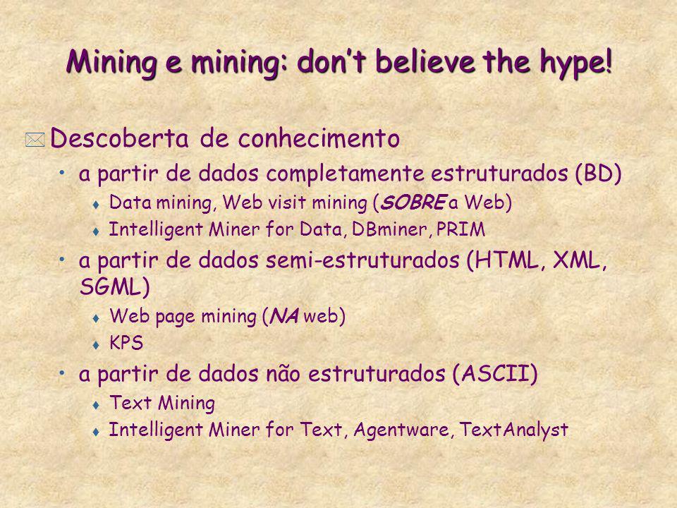 Mining e mining: dont believe the hype! * Descoberta de conhecimento a partir de dados completamente estruturados (BD) t Data mining, Web visit mining