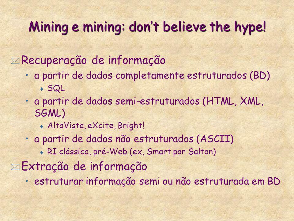 Mining e mining: dont believe the hype! * Recuperação de informação a partir de dados completamente estruturados (BD) t SQL a partir de dados semi-est