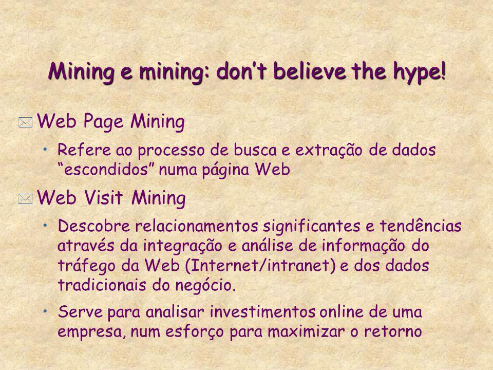 Mining e mining: dont believe the hype! * Web Page Mining Refere ao processo de busca e extração de dados escondidos numa página Web * Web Visit Minin