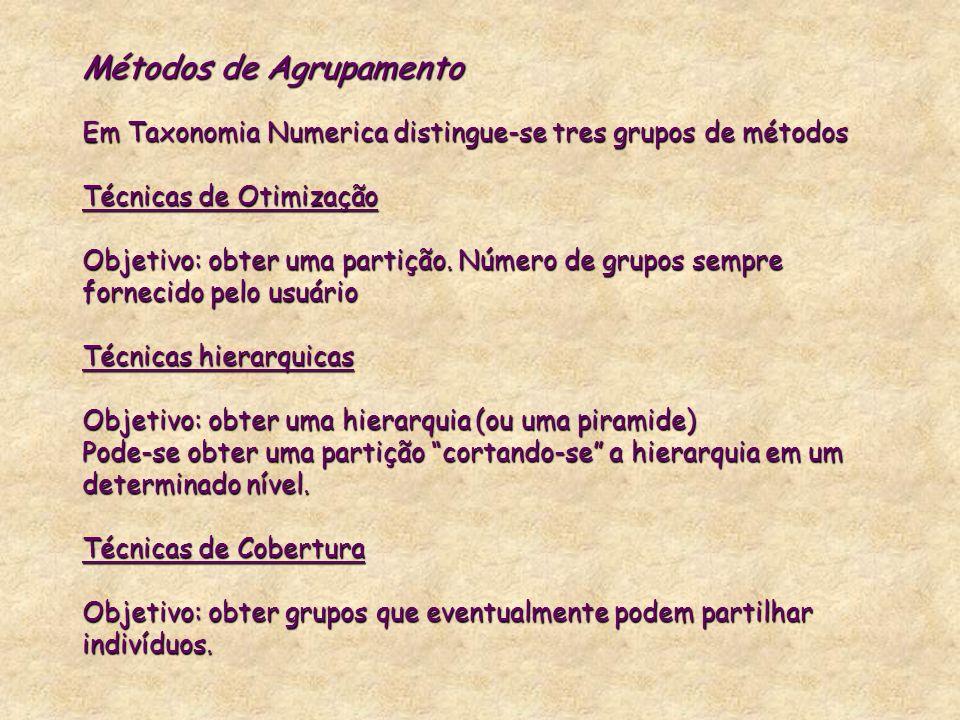 Métodos de Agrupamento Em Taxonomia Numerica distingue-se tres grupos de métodos Técnicas de Otimização Objetivo: obter uma partição. Número de grupos