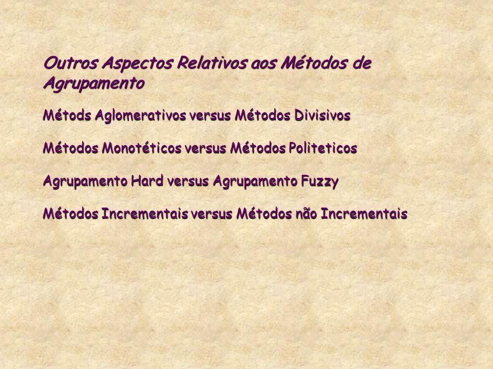 Outros Aspectos Relativos aos Métodos de Agrupamento Métods Aglomerativos versus Métodos Divisivos Métodos Monotéticos versus Métodos Politeticos Agru