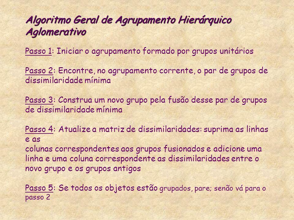 Algoritmo Geral de Agrupamento Hierárquico Aglomerativo Algoritmo Geral de Agrupamento Hierárquico Aglomerativo Passo 1: Iniciar o agrupamento formado