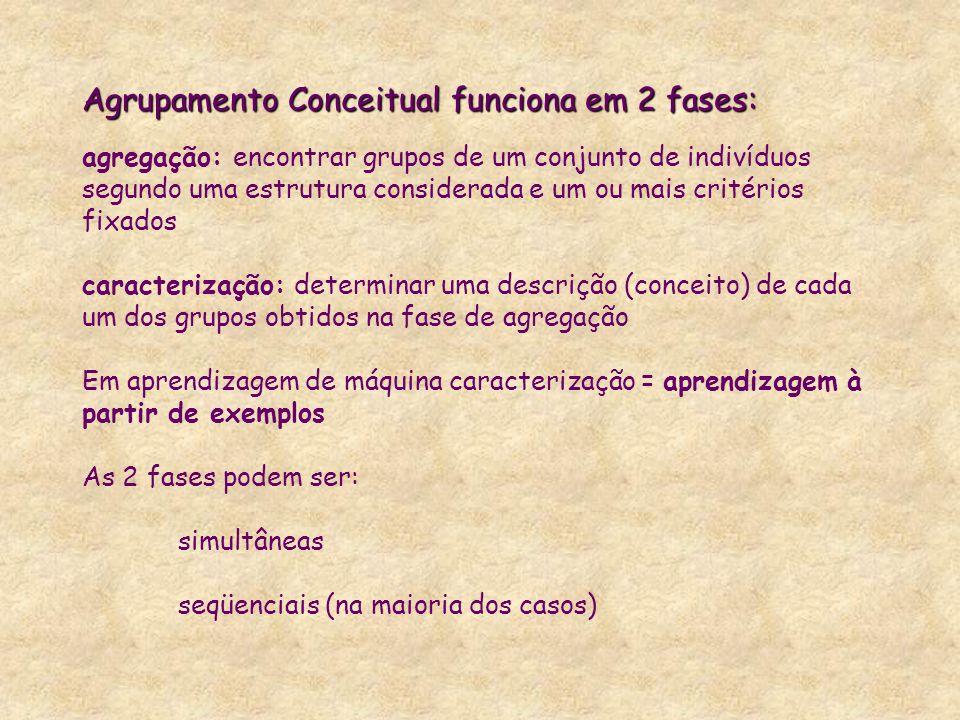 Agrupamento Conceitual funciona em 2 fases: Agrupamento Conceitual funciona em 2 fases: agregação: encontrar grupos de um conjunto de indivíduos segun