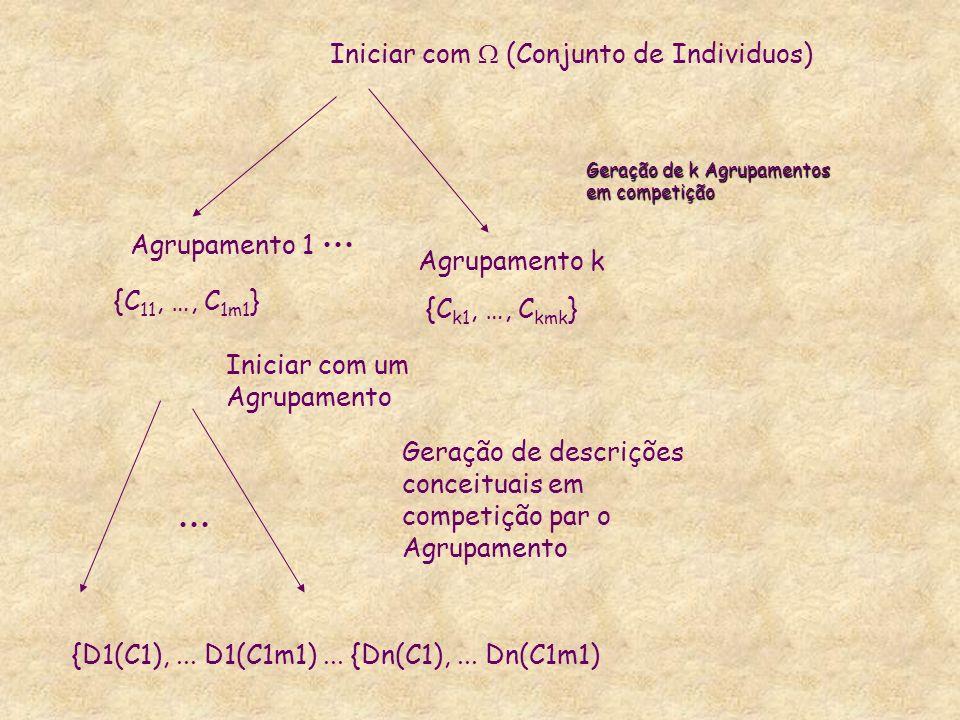 Geração de k Agrupamentos em competição Iniciar com (Conjunto de Individuos) Agrupamento 1 Agrupamento k {C 11, …, C 1m1 } {C k1, …, C kmk } Iniciar c