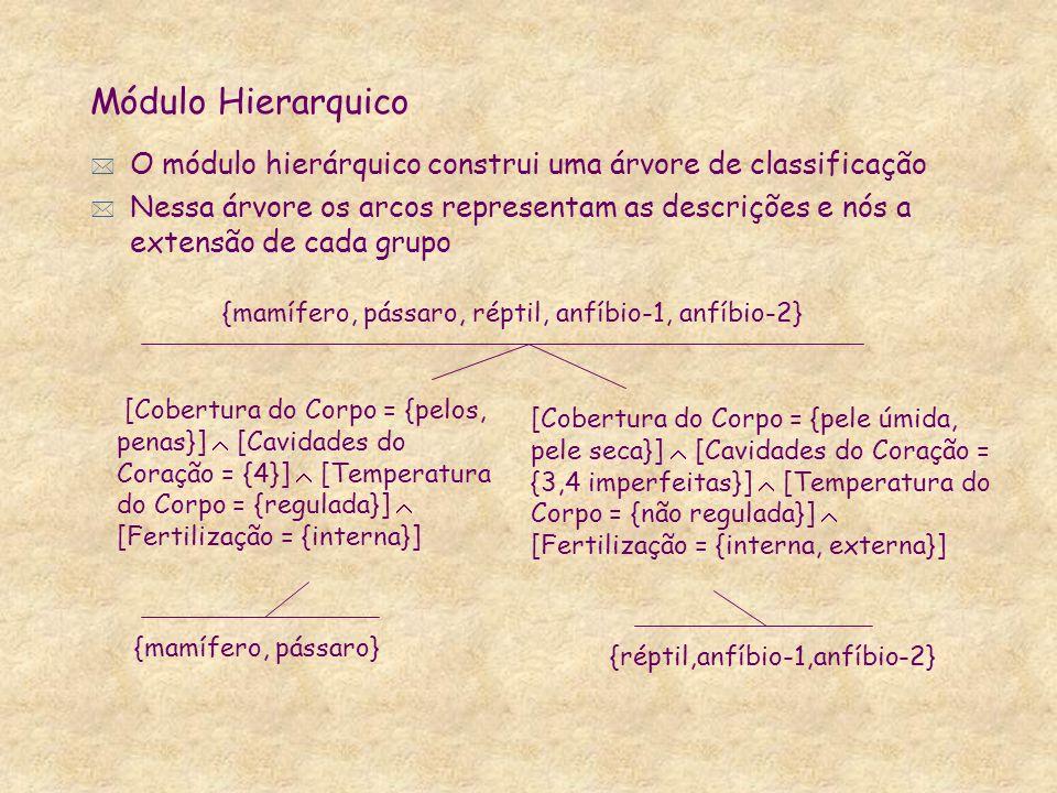 * O módulo hierárquico construi uma árvore de classificação * Nessa árvore os arcos representam as descrições e nós a extensão de cada grupo Módulo Hi