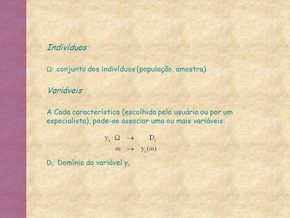 Indivíduos : conjunto dos indivíduos (população, amostra) Variáveis A Cada característica (escolhida pelo usuário ou por um especialista), pode-se ass