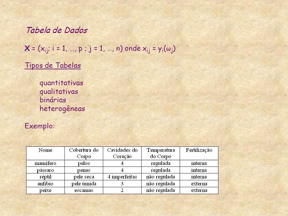 Tabela de Dados X = (x ij ; i = 1, …, p ; j = 1, …, n) onde x ij = y i ( j ) Tipos de Tabelas quantitativas qualitativas binárias heterogêneas Exemplo
