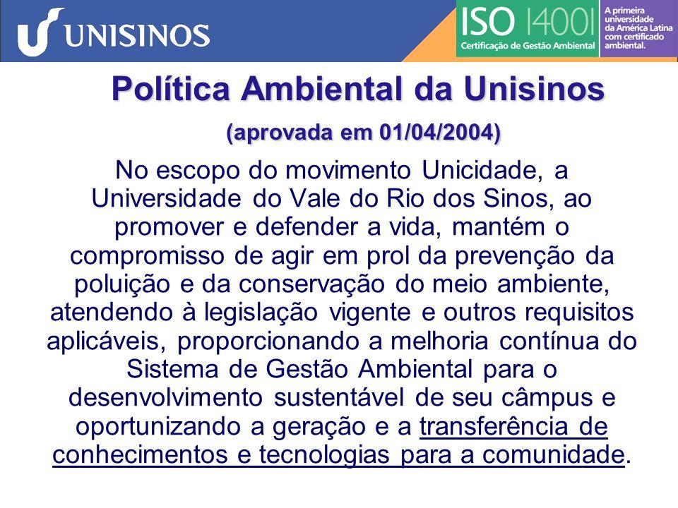 Política Ambiental da Unisinos MELHORIA CONTÍNUA Planejamento Implementação e operação Verificação Análise pela Administração Política Ambiental