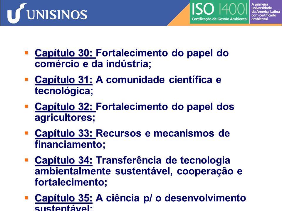 Capítulo 38: Capítulo 38: Arranjos institucionais internacionais; Capítulo 39: Capítulo 39: Instrumentos e mecanismos jurídicos internacionais; Capítulo 40: Capítulo 40: Informação p/ a tomada de decisões.