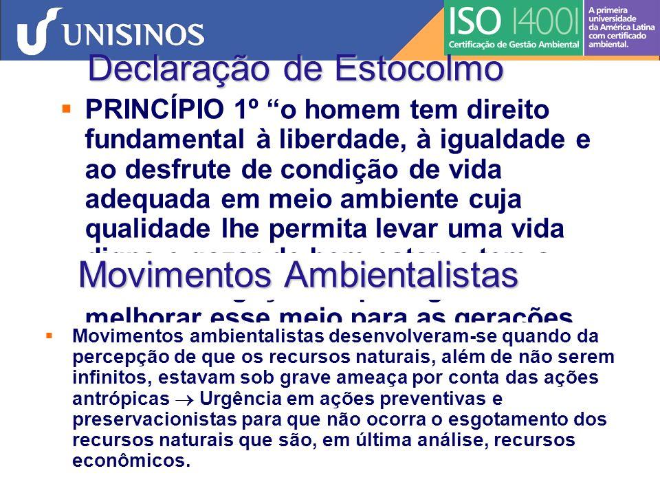 ECO/92 Conferência das Nações Unidas para o Meio Ambiente e Desenvolvimento (Rio de Janeiro,1992) - ECO/92 (noções de sustentabilidade -desenvolvimento econômico via práticas sustentadas) Tutela do Meio Ambiente Direito ao meio ambiente ecologicamente equilibrado, assim como os direitos do consumidor é direito difuso.