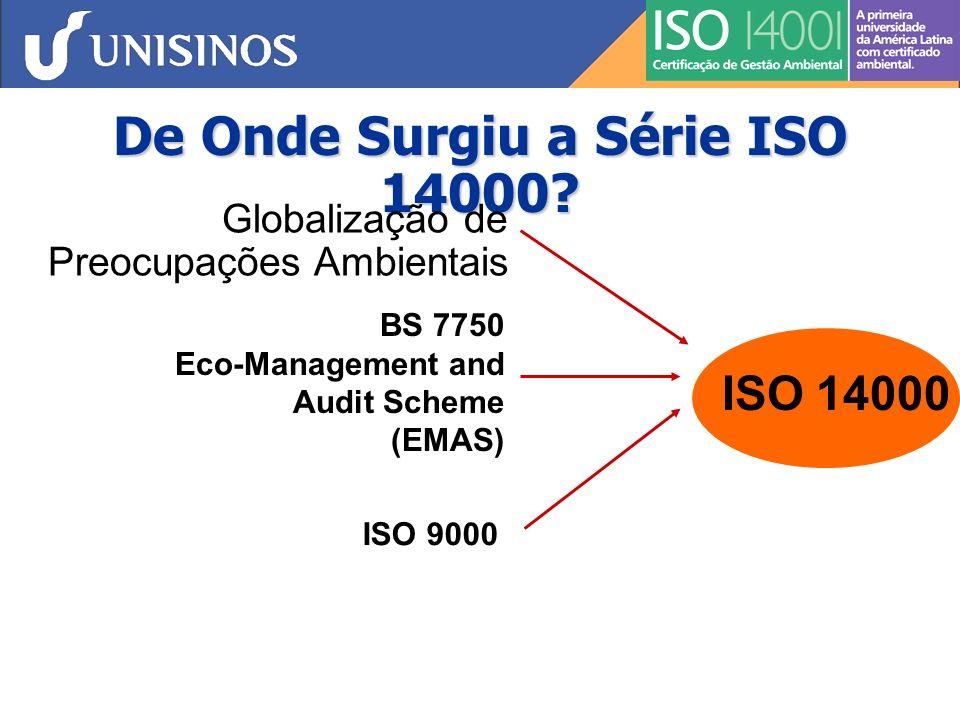 De Onde Surgiu a Série ISO 14000? Globalização de Preocupações Ambientais ISO 14000 ISO 9000 BS 7750 Eco-Management and Audit Scheme (EMAS)