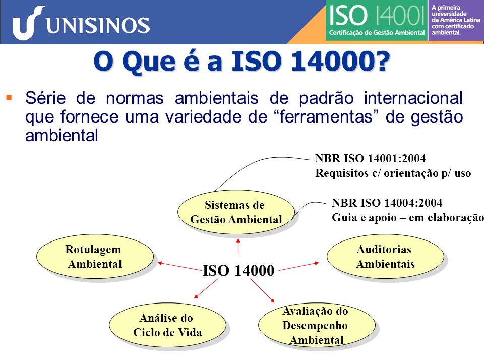 Série ISO 14000 : SGAs NBR ISO 14001:2004 – Requisitos e orientações para a implantação de um SGA ou para a melhoria de um SGA pré-existente ISO 14004:2004 – Orientações adicionais aos requisitos da ISO 14001 para determinação e implantação de um SGA