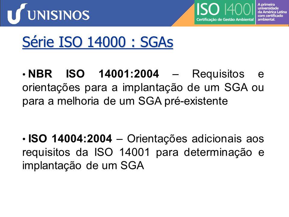 Série ISO 14000: Auditorias Ambientais NBR ISO 19011:2002 – Diretrizes para auditorias de sistema de gestão da qualidade e/ou ambiental NBR ISO 14015:2003 – Identificação e avaliação de aspectos ambientais de locais e organizações para a transferência de propriedades, responsabilidades e obrigações NBR ISO 14050:2004 – Gestão Ambiental - Vocabulário