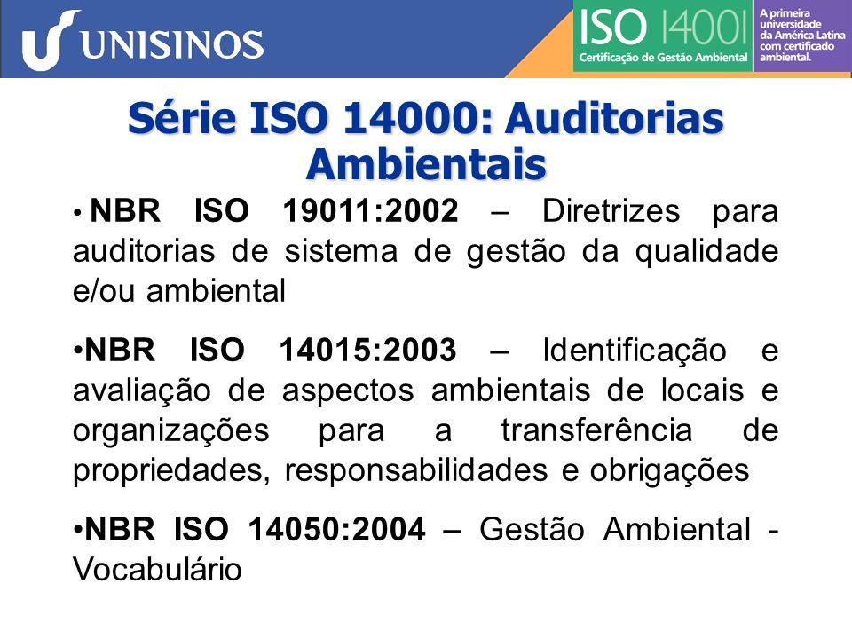 Série ISO 14000 : Rotulagem Ambiental NBR ISO 14020:2002 – Rótulos e Declarações Ambientais - Princípios Gerais (orientações e padrões para a rotulagem e declarações ambientais) NBR ISO 14021:2004 – Rótulos e Declarações Ambientais – Autodeclarações Ambientais (Rotulagem do Tipo II) - Terminologia, símbolos, testes, e metodologias de verificação NBR ISO 14024:2004 – Rótulos e Declarações Ambientais – Rotulagem Ambiental do Tipo I - Princípios e Procedimentos ISO/TR 14025:2000 – Orientações e procedimentos específicos para os programas de certificação de rotulagem ambiental (Tipo III)