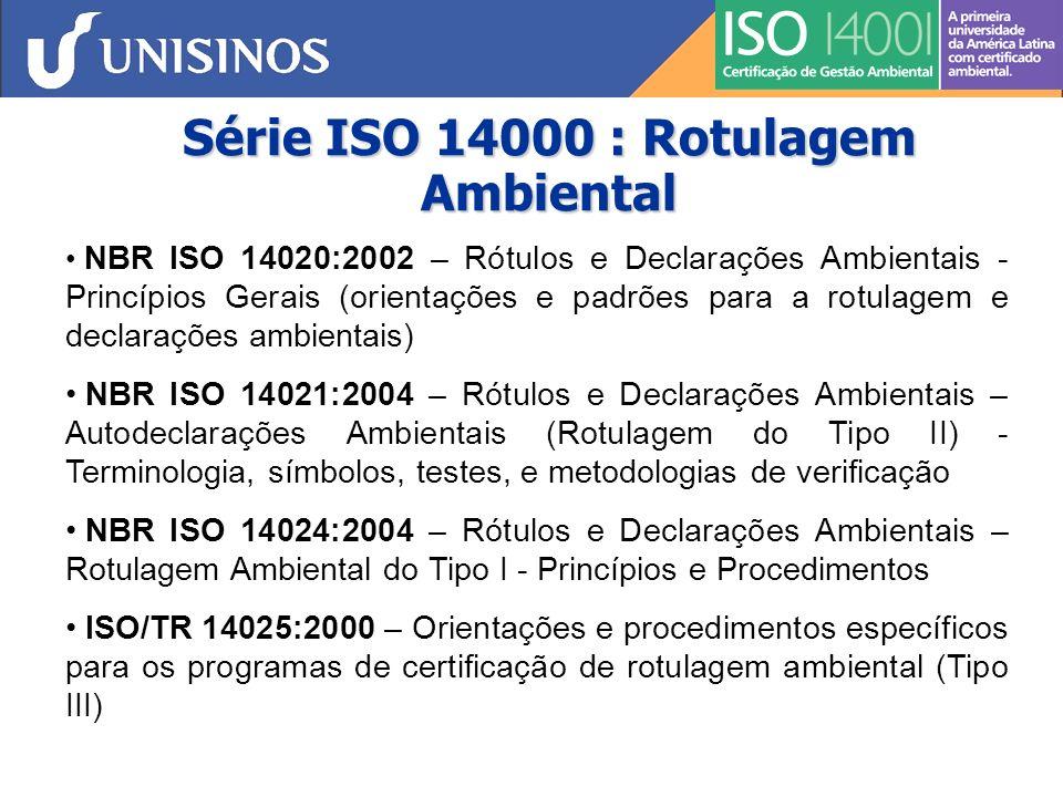 Série ISO 14000 : Desempenho Ambiental NBR ISO 14031:2004 – Gestão ambiental - Avaliação de desempenho ambiental - Diretrizes Indicadores de Desempenho Gerenciais Operacionais Condições do Meio Ambiente ISO/TR 14032:1999 – Exemplos reais obtidos de empresas para ilustrar o uso das orientações fornecidas pela ISO 14031