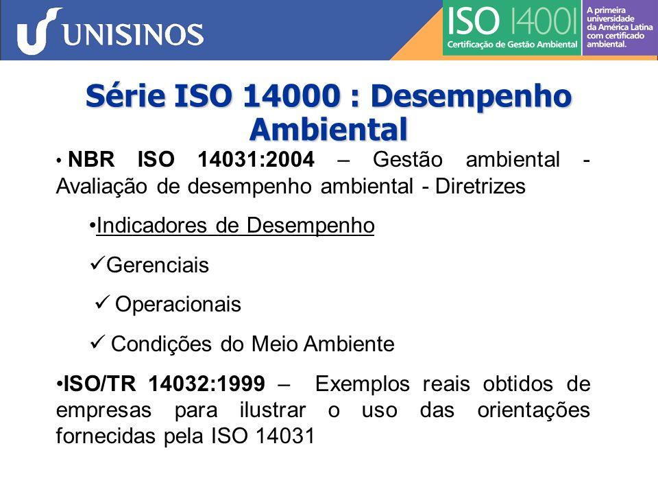 Série ISO 14000 : Avaliação de Ciclo de Vida NBR ISO 14040:2001 – Avaliação do Ciclo de Vida (ACV) - Princípios e Estrutura NBR ISO 14041:2004 – ACV – Definição de objetivo, escopo e análise de inventário NBR ISO 14042:2004 – ACV - Avaliação do impacto do ciclo de vida (uma das fases de um estudo de ACV) NBR ISO 14043:2005 – ACV - Interpretação do ciclo de vida (dos resultados de um estudo)