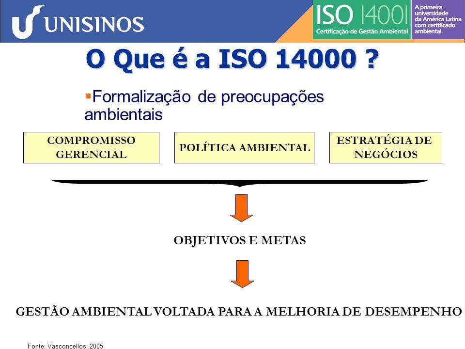 Vantagens da ISO 14001 Bancos e Seguradoras Minimização de Riscos/Poluição Redução de Custos Imagem Positiva Gestão de Fornecedores e Contratados Eficiência Operacional Flexibilidade Regulamentar Expectativas de Partes Interessadas Liderança de Mercado ISO 14001 Contribuição Consumo Sustentável Fonte: Vasconcellos, 2005