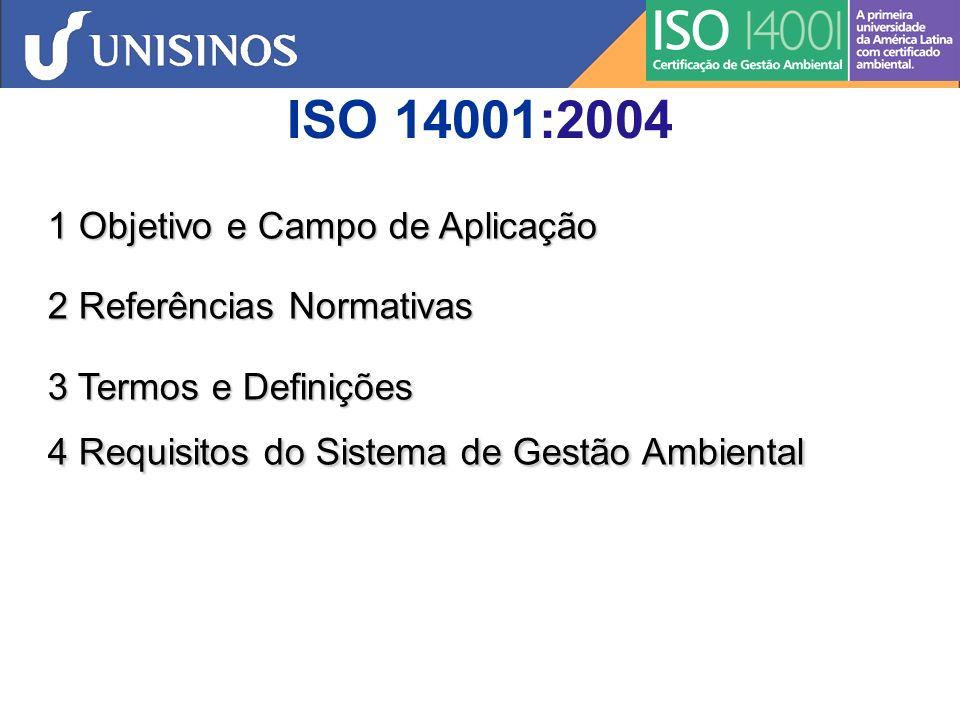 ISO 14001:2004 1 Objetivo e Campo de Aplicação 2 Referências Normativas 3 Termos e Definições 4 Requisitos do Sistema de Gestão Ambiental