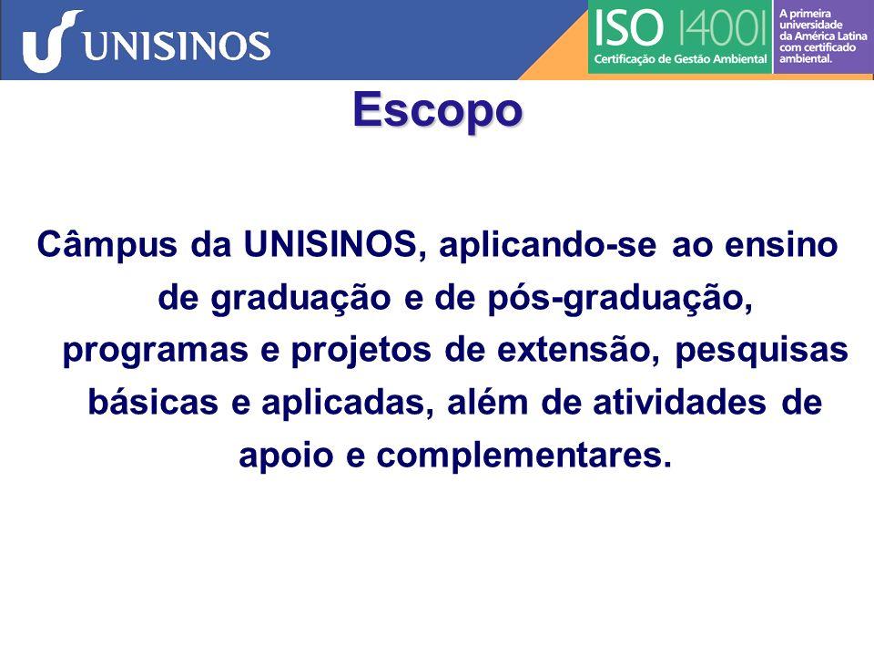 Contribuição da ISO 14001 UNISINOS para a Comunidade Acadêmica e entorno Não apenas melhorar o que já existe, mas inovar, criar, refletir e pensar em novas soluções que levem à sustentabilidade.