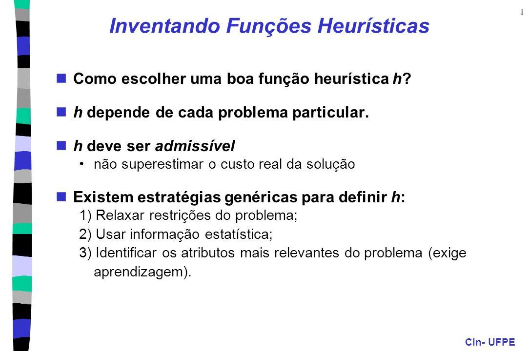 CIn- UFPE 1 Inventando Funções Heurísticas Como escolher uma boa função heurística h? h depende de cada problema particular. h deve ser admissível não