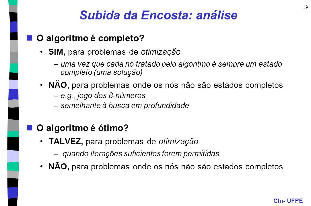 CIn- UFPE 19 Subida da Encosta: análise O algoritmo é completo.