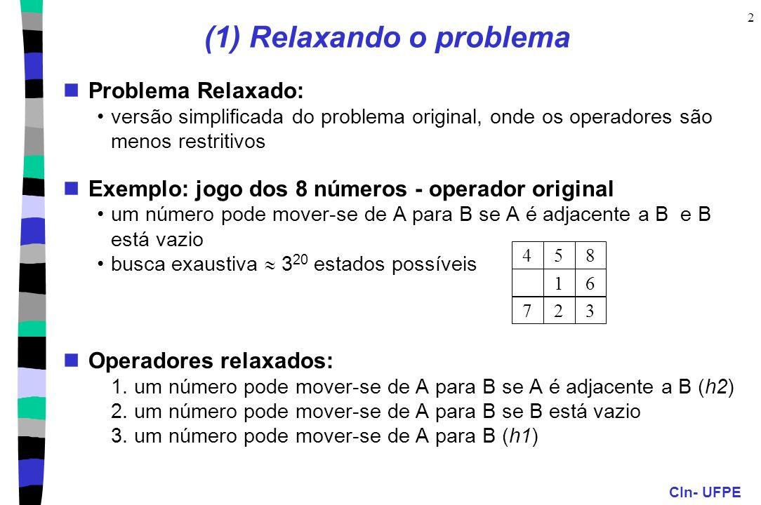 CIn- UFPE 2 Problema Relaxado: versão simplificada do problema original, onde os operadores são menos restritivos Exemplo: jogo dos 8 números - operador original um número pode mover-se de A para B se A é adjacente a B e B está vazio busca exaustiva 3 20 estados possíveis Operadores relaxados: 1.