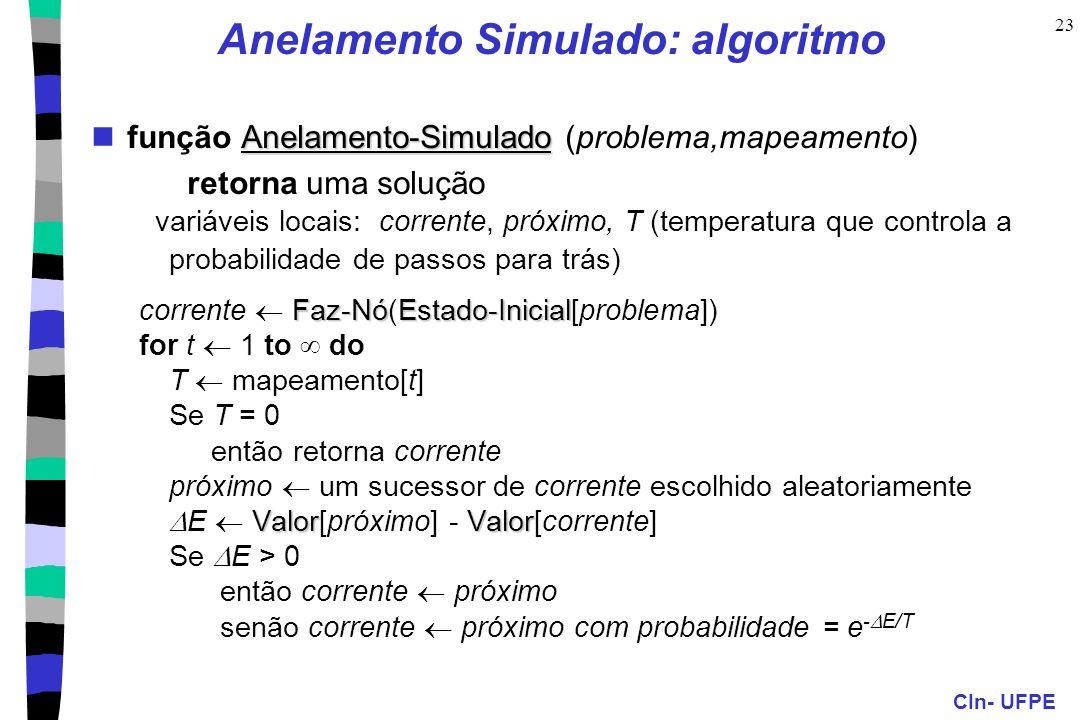 CIn- UFPE 23 Anelamento Simulado: algoritmo Anelamento-Simulado função Anelamento-Simulado (problema,mapeamento) retorna uma solução variáveis locais: corrente, próximo, T (temperatura que controla a probabilidade de passos para trás) Faz-NóEstado-Inicial corrente Faz-Nó(Estado-Inicial[problema]) for t 1 to do T mapeamento[t] Se T = 0 então retorna corrente próximo um sucessor de corrente escolhido aleatoriamente ValorValor E Valor[próximo] - Valor[corrente] Se E > 0 então corrente próximo senão corrente próximo com probabilidade = e - E/T