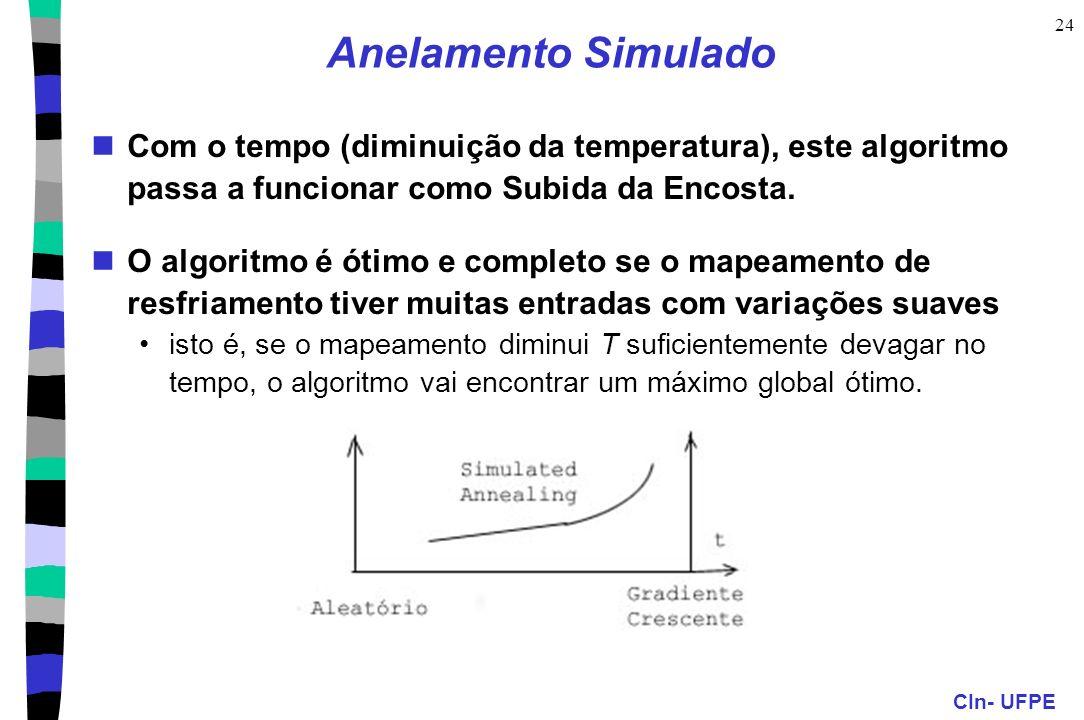 CIn- UFPE 24 Anelamento Simulado Com o tempo (diminuição da temperatura), este algoritmo passa a funcionar como Subida da Encosta. O algoritmo é ótimo