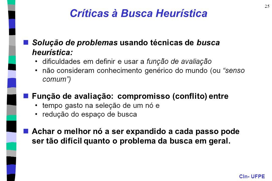 CIn- UFPE 25 Críticas à Busca Heurística Solução de problemas usando técnicas de busca heurística: dificuldades em definir e usar a função de avaliaçã