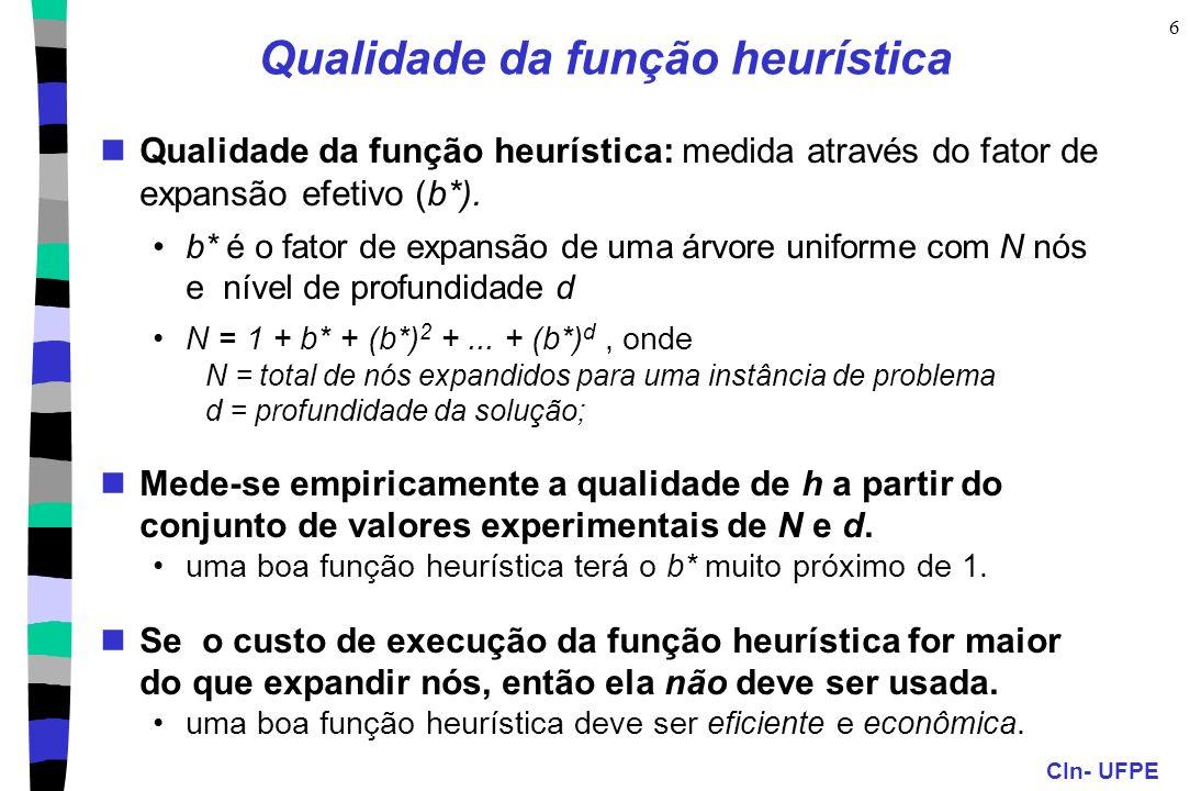 CIn- UFPE 6 Qualidade da função heurística Qualidade da função heurística: medida através do fator de expansão efetivo (b*). b* é o fator de expansão
