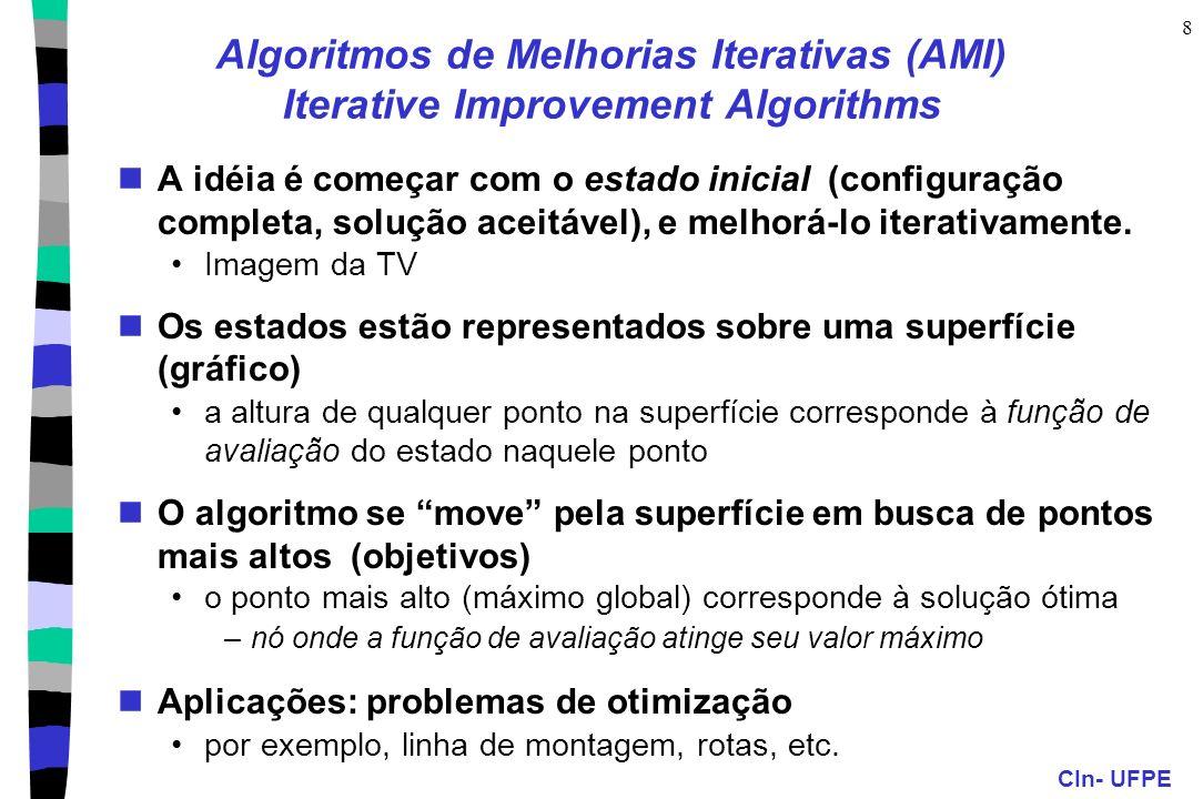 CIn- UFPE 8 Algoritmos de Melhorias Iterativas (AMI) Iterative Improvement Algorithms A idéia é começar com o estado inicial (configuração completa, s