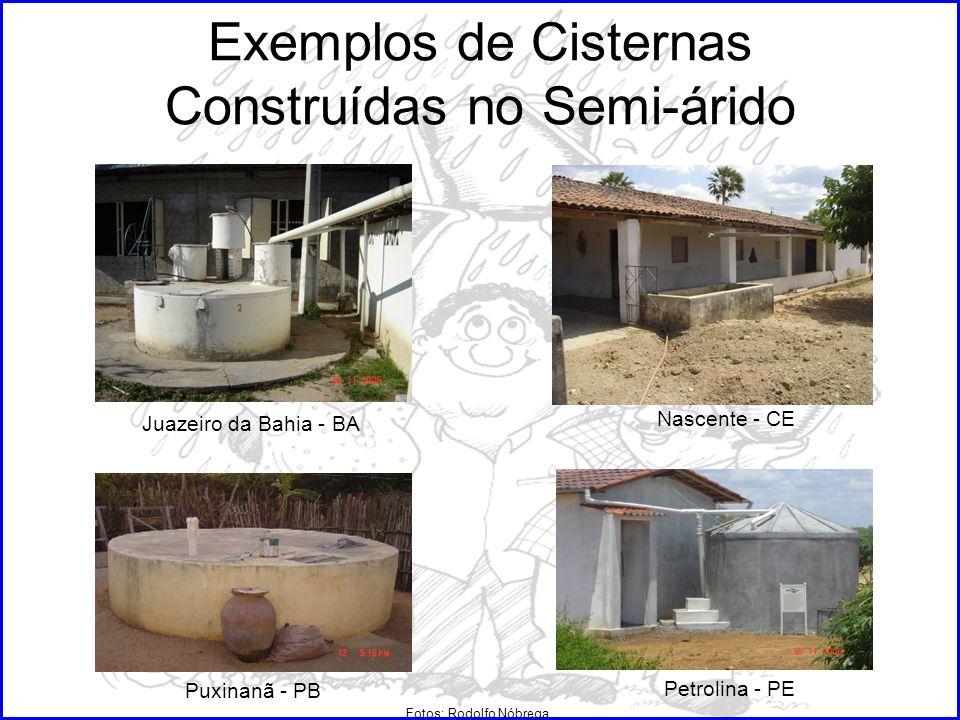 Exemplos de Cisternas Construídas no Semi-árido Juazeiro da Bahia - BA Nascente - CE Puxinanã - PB Petrolina - PE Fotos: Rodolfo Nóbrega