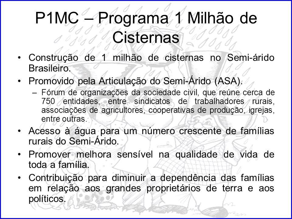 P1MC – Programa 1 Milhão de Cisternas Construção de 1 milhão de cisternas no Semi-árido Brasileiro. Promovido pela Articulação do Semi-Árido (ASA). –F