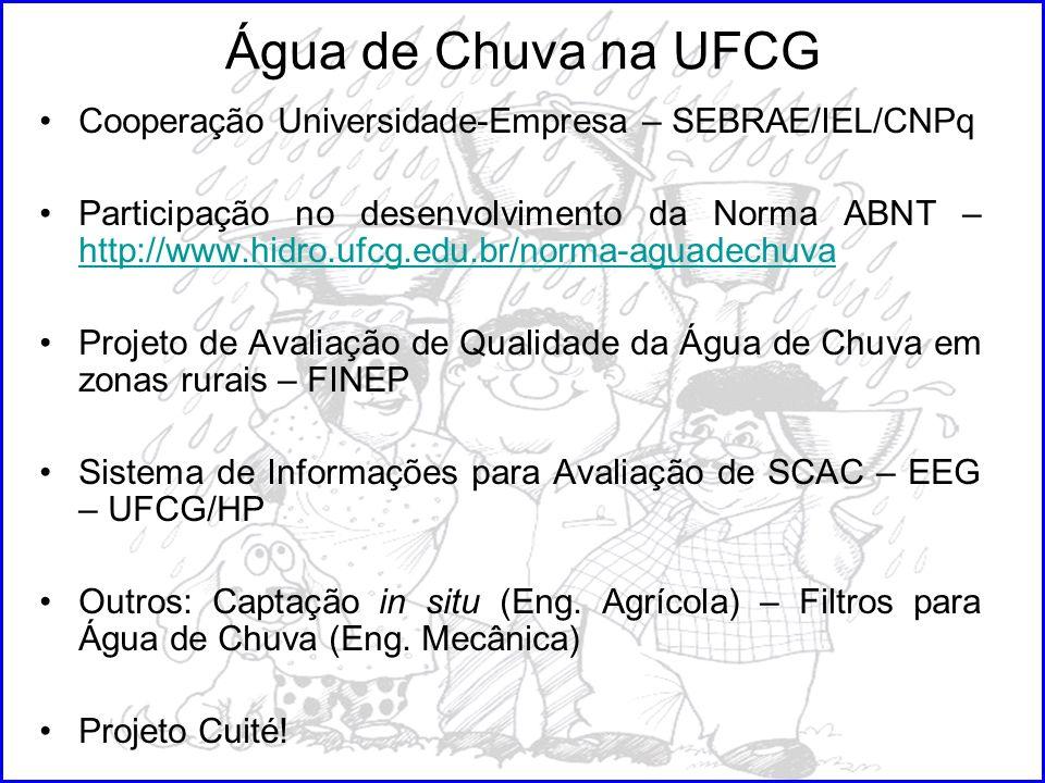 Água de Chuva na UFCG Cooperação Universidade-Empresa – SEBRAE/IEL/CNPq Participação no desenvolvimento da Norma ABNT – http://www.hidro.ufcg.edu.br/n