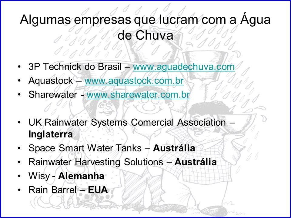 Algumas empresas que lucram com a Água de Chuva 3P Technick do Brasil – www.aguadechuva.comwww.aguadechuva.com Aquastock – www.aquastock.com.brwww.aqu