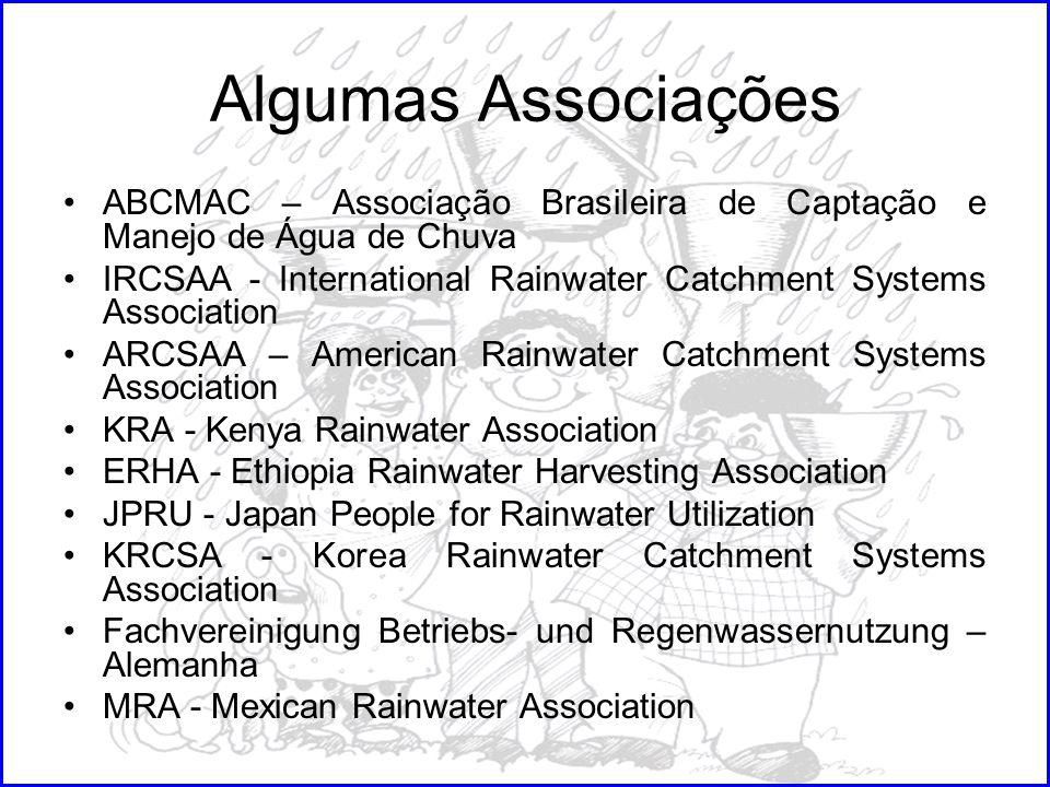 Algumas Associações ABCMAC – Associação Brasileira de Captação e Manejo de Água de Chuva IRCSAA - International Rainwater Catchment Systems Associatio