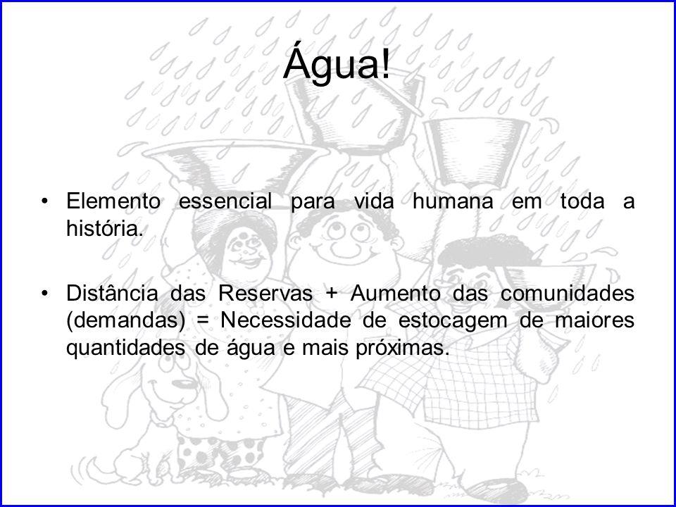 Água! Elemento essencial para vida humana em toda a história. Distância das Reservas + Aumento das comunidades (demandas) = Necessidade de estocagem d