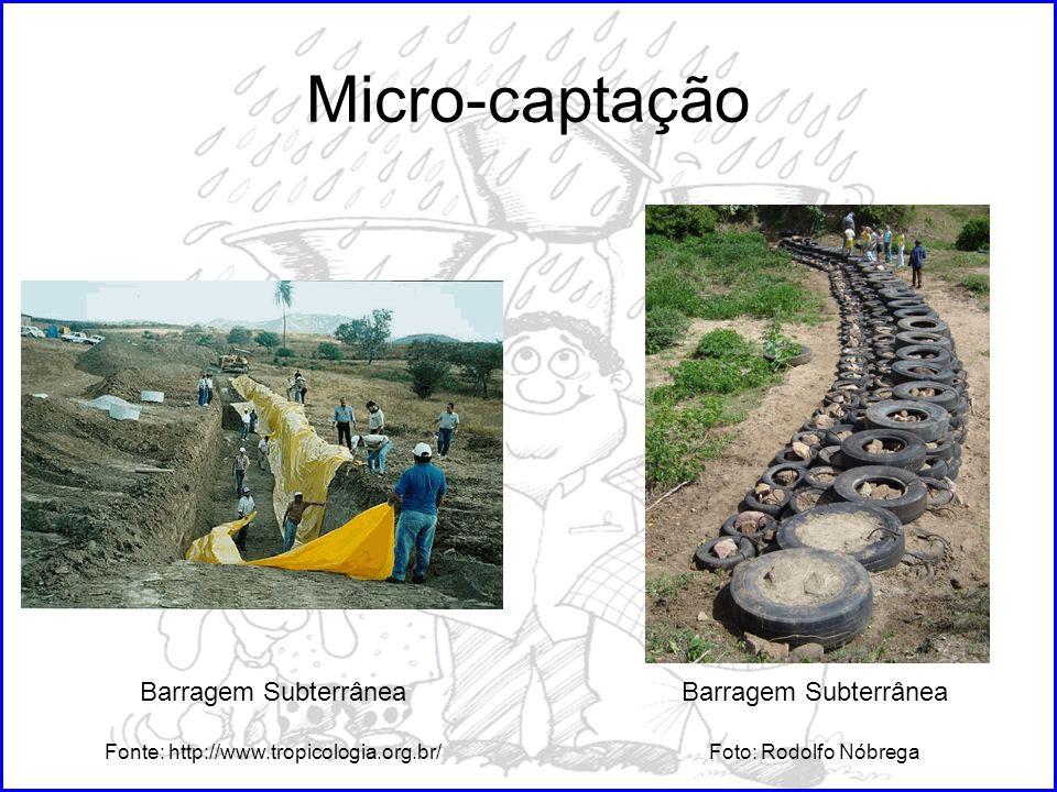 Micro-captação Barragem Subterrânea Fonte: http://www.tropicologia.org.br/ Barragem Subterrânea Foto: Rodolfo Nóbrega