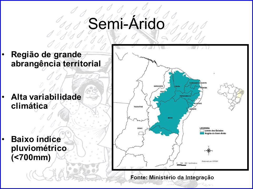 Semi-Árido Região de grande abrangência territorial Alta variabilidade climática Baixo índice pluviométrico (<700mm) Fonte: Ministério da Integração