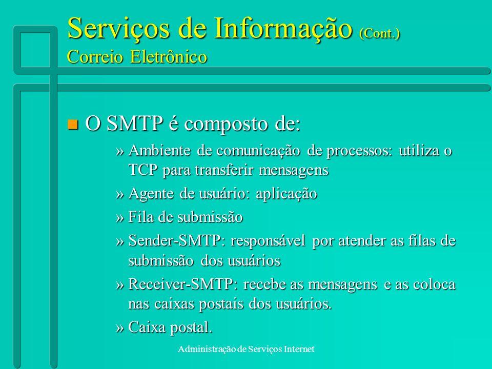 Administração de Serviços Internet Serviços de Informação (Cont.) Correio Eletrônico n O SMTP é composto de: »Ambiente de comunicação de processos: ut
