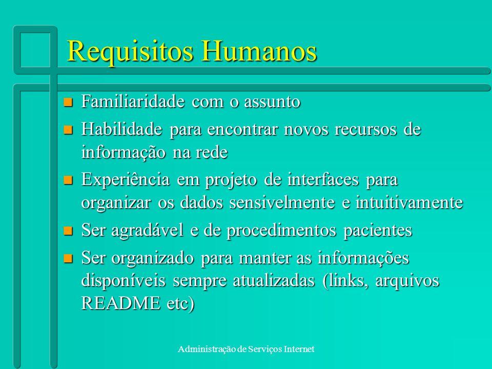 Administração de Serviços Internet Requisitos Humanos n Familiaridade com o assunto n Habilidade para encontrar novos recursos de informação na rede n