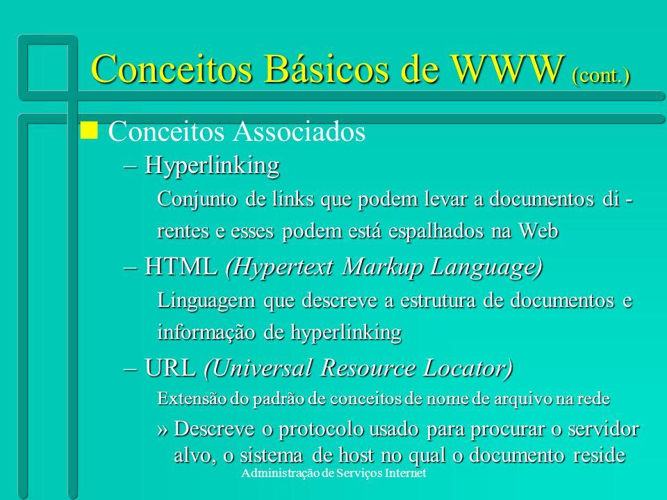 Administração de Serviços Internet Conceitos Básicos de WWW (cont.) –Hyperlinking Conjunto de links que podem levar a documentos di - rentes e esses p